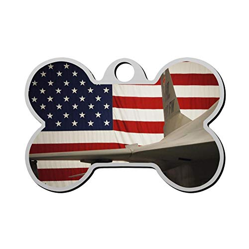 GPZHM Customized Labor Day American Flag Airplane Pet Tag - Bone Shaped Dog Tag & Cat Tags Pet ID Tag Personalized Custom Your Pet's Name & Number 3D Printing ()