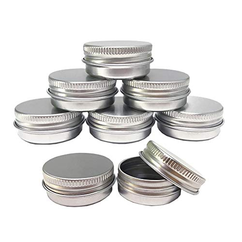 - Aluminum Tin Jars, Cosmetic Sample Metal Tins Empty Container Bulk, Round Pot Screw Cap Lid, Small Ounce for Candle, Lip Balm, Salve, Make Up, Eye Shadow, Powder (12 Pack, .5 Oz/15ml)