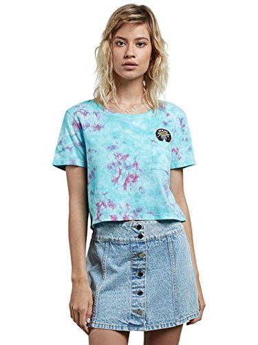 Volcom Junior's Georgia May Jagger Core Tie Dye Short Sleeve Shirt, Turkish Blue, - Jagger Georgia