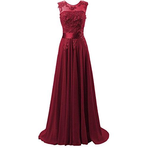 b4e3b9092d27 Hanxue Women s Chiffon Long Evening Dress Prom Dress Burgundy US 10
