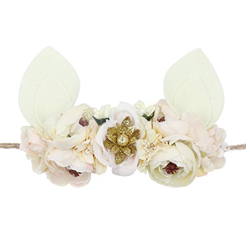 DreamLily Baby Girls Flower Crown Spring Bunny Headband Woodland Floral Head Piece for Toddler BB14 (Tie Back Ivory Ear)