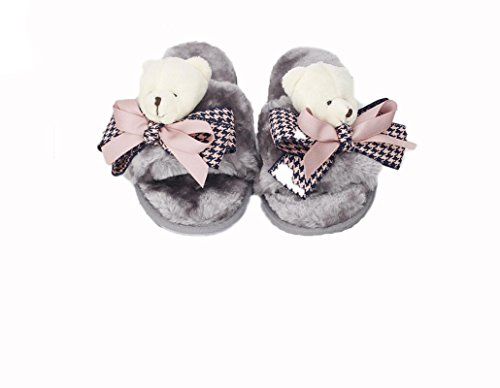 Beauqueen Automne et Hiver Femmes Leisureless Houndstooth Bow Tie ours en peluche antidérapante pantoufles , black bear plush houndstooth bow head word drag , 42