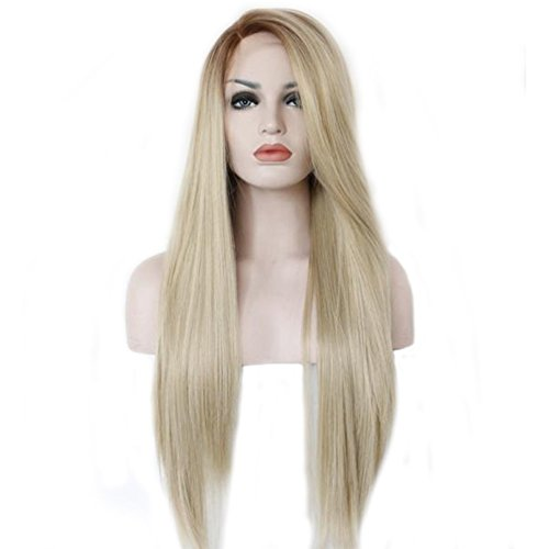 Mufly Lace Front Synthetic Wigs Ombre Blonde Long Straight Heat Resistant 26 - Near Warehouse Me Store