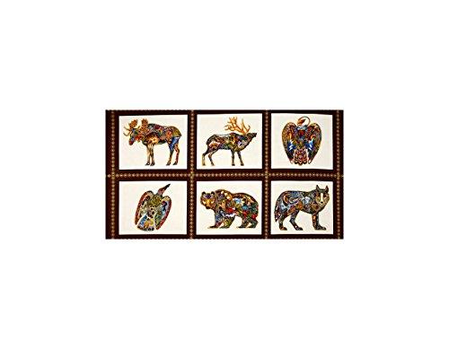 Robert Kaufman 0435747 Animal Spirits 2 Metalllics Wildlife 24 in. Panel Blocks Fabric, Earth Metallic