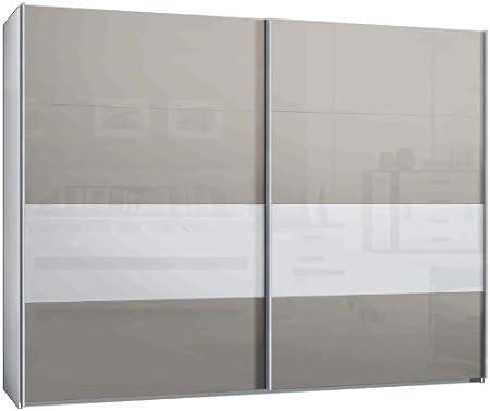 Armario de puertas correderas, armario, aprox 300 cm, blanco con vidrio Sahara gris con cristal blanco: Amazon.es: Hogar