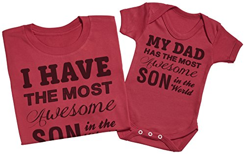 Zarlivia Clothing Most Awesome Son Mens T Shirt /& Baby Bodysuit Matching Father Baby Gift Set
