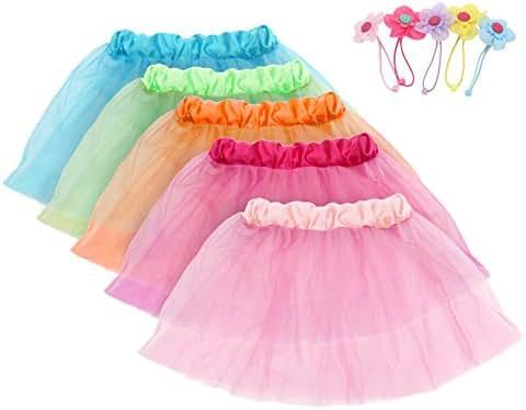 fedio Girls Princess Tutu Skirts Set 5 Pack Kids Ballet Tutu Costume Dress with 5Pcs Flower Hair Ties(Ages 3-8)