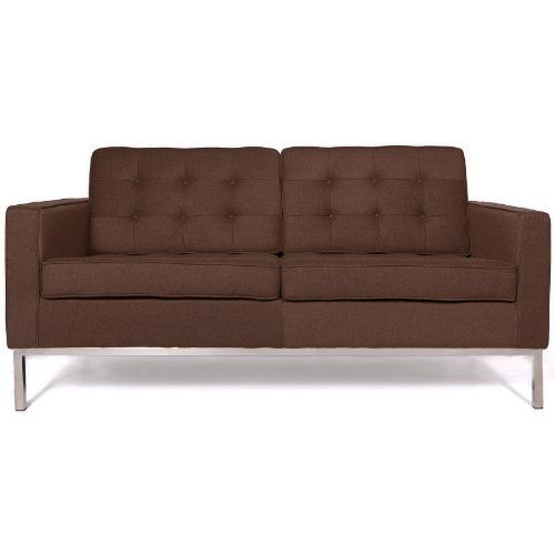 LeisureMod Modern Florence Style Fabric Loveseat Sofa in Chocolate Brown For Sale