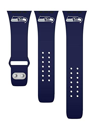 GAME TIME Seattle Seahawks Silicone Watch Band Compatible with APPL Smart Watches (42mm/44mm Navy)