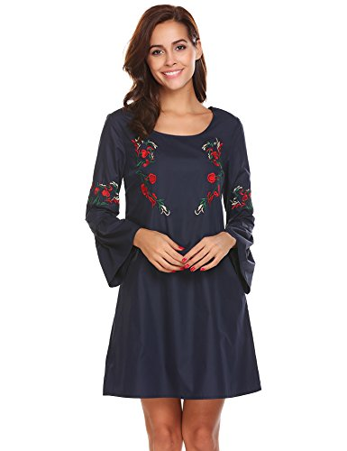 Mini Sleeves Dress Flared - SoTeer Women's Casual Floral Embroidered Tunic Dresses Flared Sleeve Mini Dress (Navy, L)