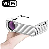 Wifi Mini Projector DIWUER LCD 130 inch Home Video Projector with HDMI USB SD AV for iPhone Android -White(Newest WiFi Version)