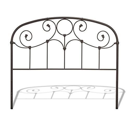 Leggett & Platt Grafton Metal Headboard Panel with Prominent Scrollwork and Decorative Castings, Rusty Gold Finish, California King