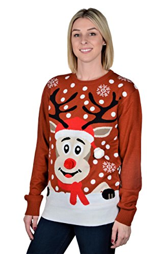 RWB Unisex Rudolph The Reindeer Ugly Christmas Sweater Burgundy ...