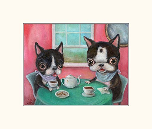 Boston Terrier Dog Art Print, Whimsical Tea Party Pop Surrealism 5x7 inch Matted for 8x10 Frame