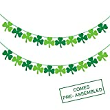 Felt Shamrock Clover Garland Banner - NO DIY - St. Patrick 's Day Banner Decor - St. Patrick 's Day Garland Decorations - Irish Party Supplies - Green and Light Green Color: more info