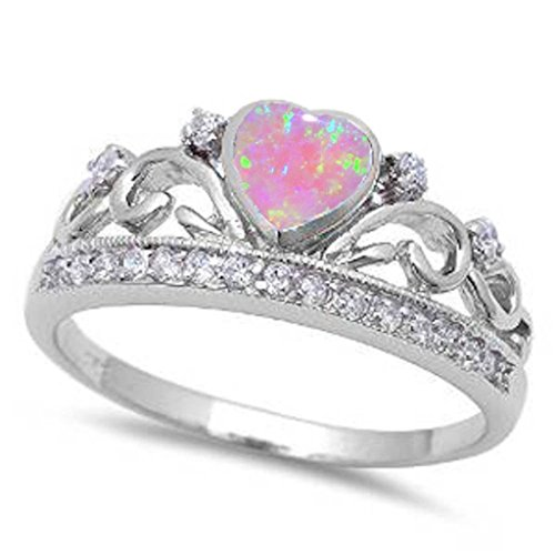 Heart Crown Ring Lab Pink Opal Round Ice White CZ 925 Sterling Silver 3-12 (Heart Pink Ice Ring)
