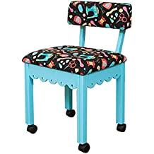 Arrow Sewing Print Material Sewing Chair with Scalloped Base