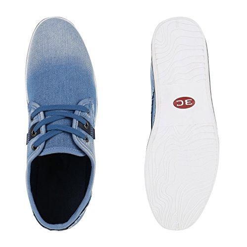 Stiefelparadies Herren Sneakers Gesteppt Denim Sportschuhe Sneaker Low Turnschuhe Schnürer Freizeit Schuhe Leder-Optik Flandell Hellblau Fransen