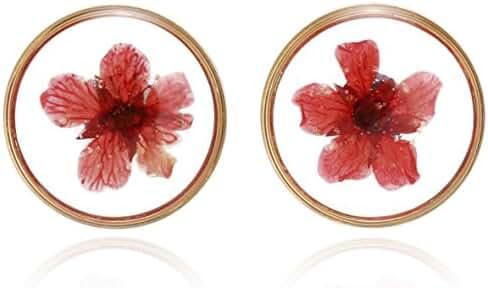 BONALUNA Handmade Pressed Flower Yellow Gold Plated Circle Stud Earrings