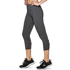 RBX Active Women's Workout Cotton Lace up Black Capri Charcoal Grey S