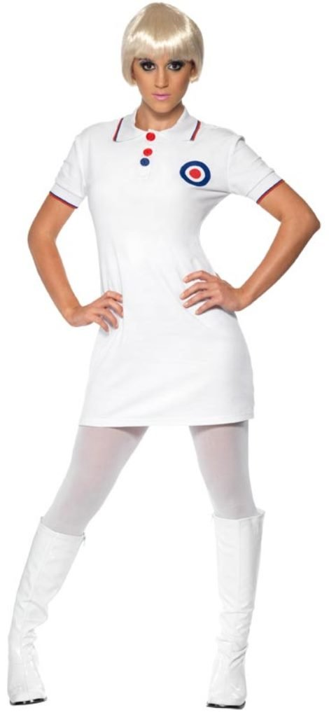 60s Dresses & 60s Style Dresses UK Smiffys 1960s Mod Costume Dress with Collar - White Small £13.99 AT vintagedancer.com