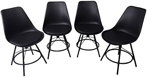 Tongli Modern Barstool Dining Chair Industrial Counter High Stool Pack of 4 ,Shell Lounge Plastic Chair for Kitchen, Dining, Bedroom, Living Room Side Chairs