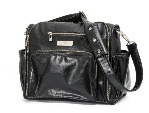 Ju-Ju-Be Be Fabulous Earth Leather Diaper Bag, Black/Hot Pink, Bags Central