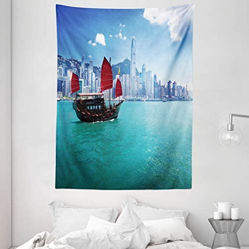 Ambesonne Ocean Tapestry, Hong Kong Harbour Small Traditional Junk Boat with Flags Buildings Skyline and Sea, Wall Hanging for Bedroom Living Room Dorm, 60 X 80 , Blue Aqua Red