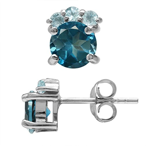 (2.1ct. 6MM Genuine Round Shape London Blue Topaz White Gold Plated 925 Sterling Silver Stud Earrings)