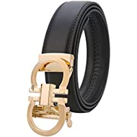 Mens Genuine Leather Rachet Dress Belt Comfort Click on Automatic Gold Or Silver Buckle Belt 35mm