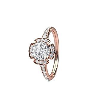 18K Rose Gold 4 Prong Setting Side Stone Halo Engagement Ring Size - 5