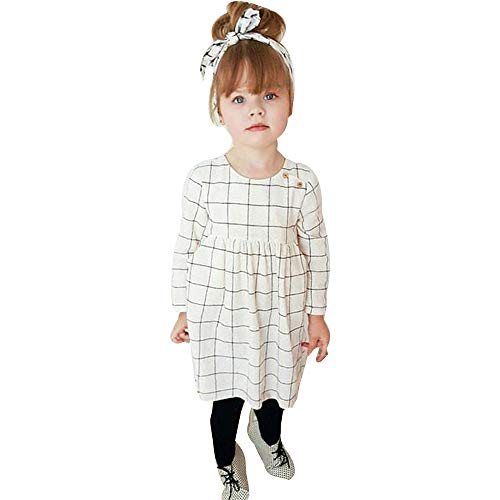 TOPUNDER Plaid Dress Princess Party Casual Dress Headband Clothes Toddler Kids Baby Girl]()