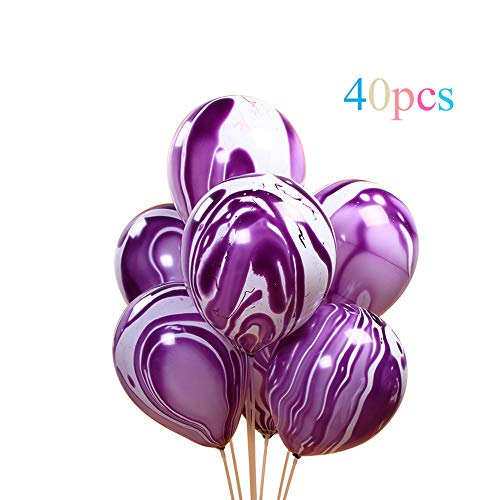 Purple Agate Marble Balloons,12