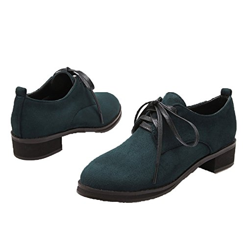 Nonbrand Women's faux suede lace up oxford shoes large size brogues Green OWF1N8qT2