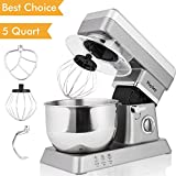 Stand Mixer, 600W Tilt-Head Kitchen Electric Food Mixer with 6-Speed Control, 5-Quart Stainless Steel Bowl, Dough Hook, Whisk, Beater, Splash Guard (silver)