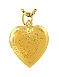 Lifetime Jewelry Photo Locket Women Girls [ Two Hearts ] - Up to 20X More 24k Real Gold Plating Than Other Heart Locket Necklaces That Hold Pictures - Choice Pendant Without Chain
