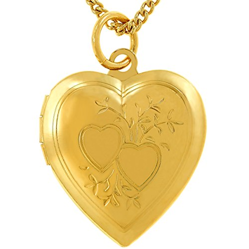 Lifetime Jewelry Photo Locket for Women and Girls [ Two Hearts ] - 20X More Real 24k Gold Plating Than Other Heart Locket Necklaces That Hold Pictures (Yellow Gold Pendant ()