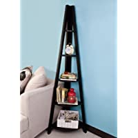 Haotian Wooden Ladder Shelf, 5 Tiers Triangle Corner Shelf, Display Shelf, White, FRG20-Sch,Black