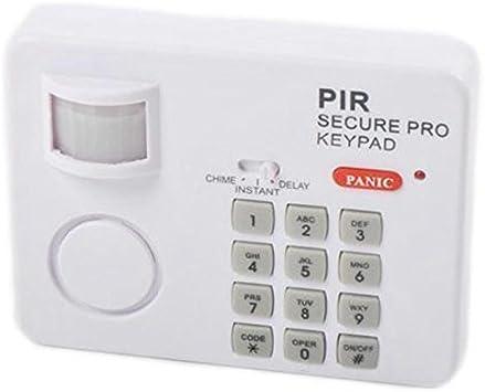 TOOGOO (R) PIR Sensor de movimiento inalámbrico alarma con teclado de seguridad hogar Garaje Cobertizo Caravan blanco