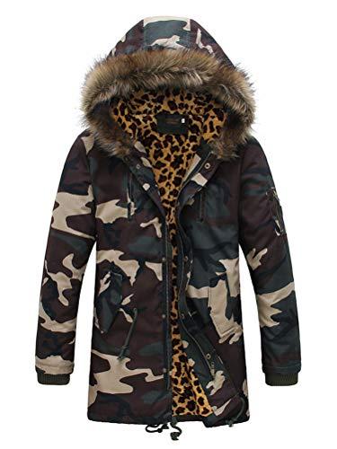 Windproof Outdoor Parka Jacket Men's Coat Faux Green Outwear Long Fur Windbreaker Thicken Winter Casual Warm Hooded ORANDESIGNE 1FxqBwZOBz
