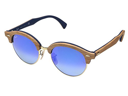 Ray-Ban-Wood-Unisex-Non-Polarized-Iridium-Round-Sunglasses-Gold-51-mm