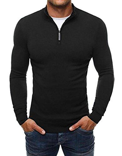 Fensajomon Mens Casual Slim Fitted Stand Collar Half Zip Pullover Sweater Black 3XL