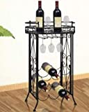 SKB Family Metal Wine Rack Wine Table with Hooks for 9 Bottles Standing-Rack Rust Free