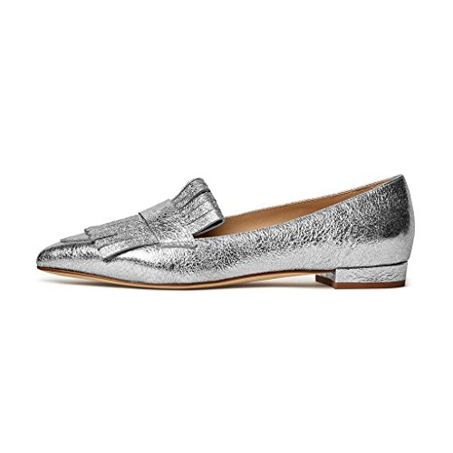 Low XYD Heels Silver Driver Slip Dress Pointy Loafers Fringe On Flats Vintage Pump Shoes Toe aawg6v