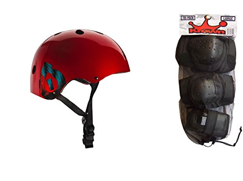 661 Dirt Lid Plus Skate BMX Helmet Red CPSC with Knee Elbow Wrist Pads Small ()