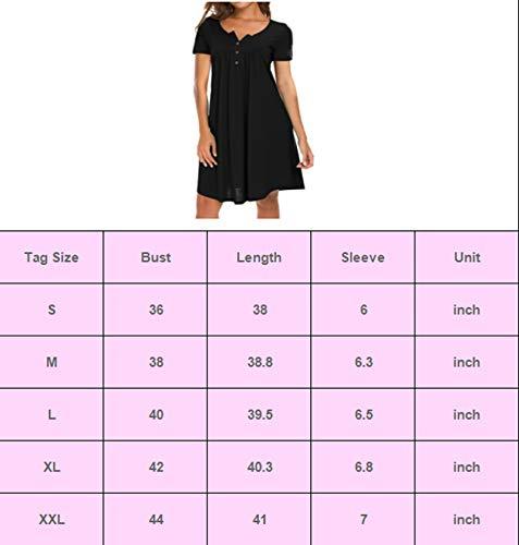 AMCLOS Womens V Neck Dress Swing Simple Ruffle Button up Short/Long Sleeve T-Shirt Loose Casual Dress (Large, Short-Black)