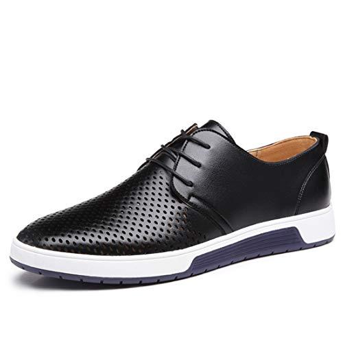 Neue Männer Freizeitschuhe Leder Sommer Atmungsaktive Löcher Luxusmarke Flache Schuhe Für Männer Drop Shipping Black1