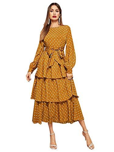 Romwe Women's Elegant Vintage Polka Dot Lantern Long Sleeve Belt Layered Ruffle Hem Midi Dress Ginger Medium