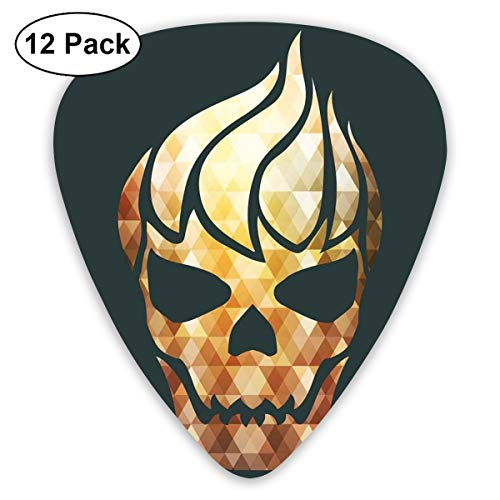 Guitar Picks 12-Pack,Gothic Skull With Fractal Effects In Fire Evil Halloween Concept