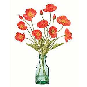 Petals – California Poppies Silk Accent – Amazingly Lifelike – Vibrant Colors – Hand-Crafted – 16 x 12 Inches (Flame)
